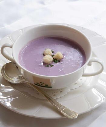 紫芋には、さつまいも本来の成分に加えて、ブルーベリーや赤ワインなどに含まれるアントシアニンが豊富に含まれています。抗酸化作用や免疫力向上などの効果があると言われているので、健康を気遣う方にぴったりです。