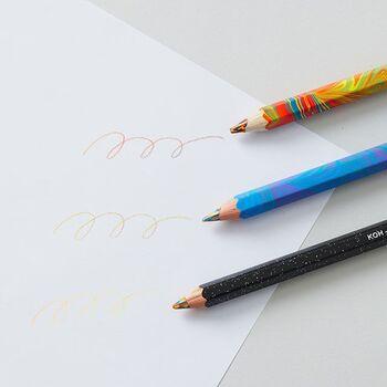 こちらもチェコ発祥の「KOH-I-NOOR」から、角度によって出る色が異なる「マジックペンシル」です。色鉛筆ならではの柔らかな書き心地と優しい発色は、ただ線を書いているだけで気持ちも穏やかになごみそうですね。 スケジュール帳や家計簿を華やかに彩れば、開くたびに心躍るあなただけの1ページに。