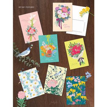 鮮やかな花々にメッセージが添えられたブーケデザインのポストカード。ヴィヴィッドな色使いが華やかで、花束のようにお部屋に飾りたくなります♪