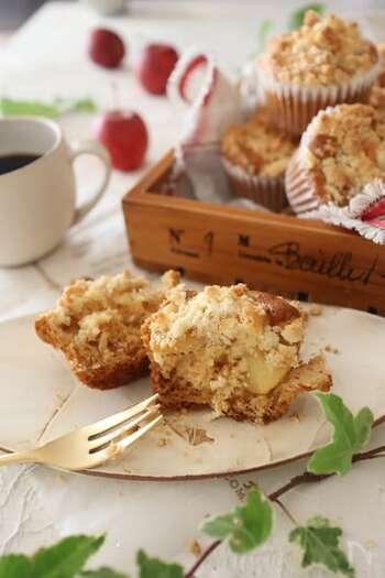クランブルのざくざく感を楽しむカップケーキ。メープルシロップの甘ーい香りがたまりません。