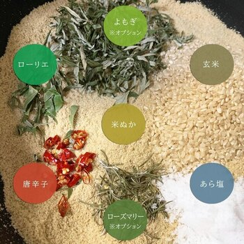 玄米、米ぬか、あら塩、唐辛子、ローリエをベースに、「よもぎ」か「ローズマリー」が選べます。