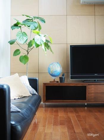 テレビの色、テレビボードの色と合わせてシックでスタイリッシュな色を選べばインテリアにも馴染みます。
