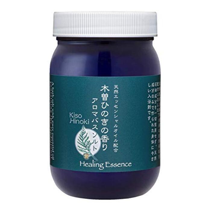木曽ひのきの香りアロマバスソルト【無添加 お肌にやさしい 天然成分】420g 計量スプーン付き