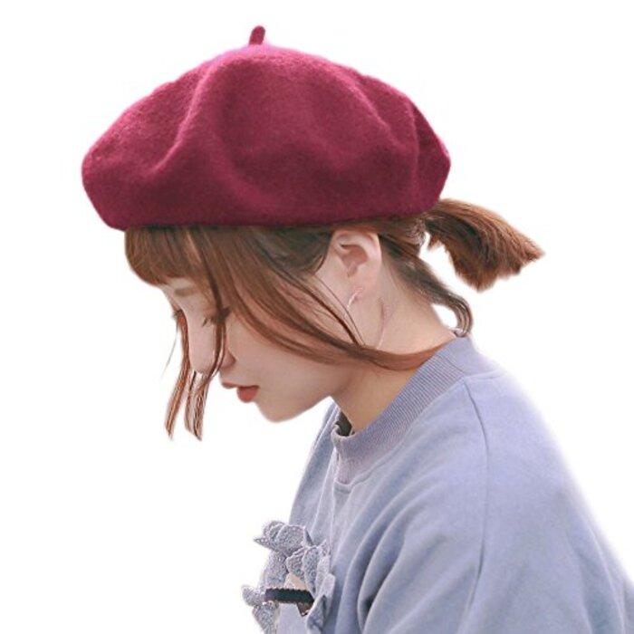 [モニコ] ベレー レディース ベレー帽 帽子 無地 ウール 毛 暖 フェルト 赤 黒 白 ピンク ブラック カラフル m001&m002-BK