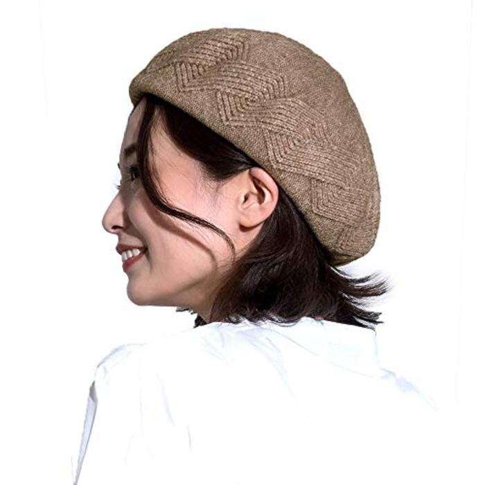 (Join・K) ベレー帽 ニット 裏起毛 立体 柄 伸びる 帽子 レディース ブラウン