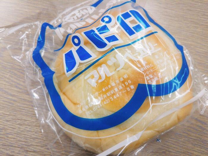 奈良県のご当地パンは、マルツベーカリーの「パピロ」。創業当時からある歴史のあるパンで、うずまきの中にバタークリームが詰まっています。レトロなパッケージにも心惹かれますね。