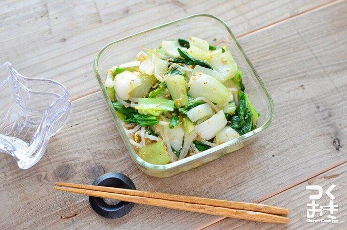 中華料理の食材としてよく使われるチンゲン菜は、餃子の副菜にぴったり。にんにくの風味がよく効いています。