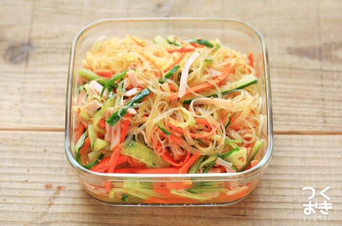 つるつる食べられて、さっぱりとおいしい春雨サラダのレシピ。少し甘めの味付けで、お子さんも好きな味。