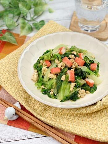 サラダの定番野菜レタスが、中華風おかずに変身。旨味しっかりだけど食感が軽いレタスが主役なので、副菜にちょうど良い一品です。