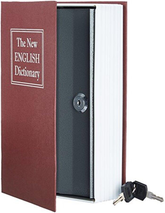 Amazonベーシック 本型金庫 セーフティーボックス キーロック レッド