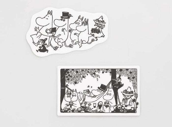 イラストも実際にコミックスの4巻から抜き出しており、ムーミンファンなら見覚えのあるシーンかも。見ているだけで心弾む「ダンス」は、クッキーの抜き型のようなダイカット。楽しい雰囲気いっぱいの「ピクニック」はメッセージを書きやすい角丸と、カードの形状も工夫されています。