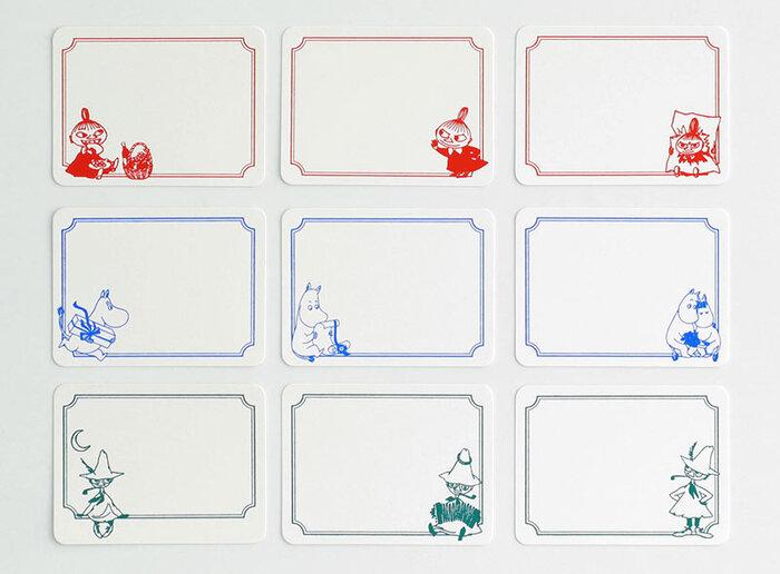 リトルミイ、ムーミン、スナフキンと、大人女性からも支持されるムーミンのキャラクターたちそれぞれに合わせた、鮮やかな色展開も魅力的で、キャラクターひとつにつき3種類の絵柄があります。