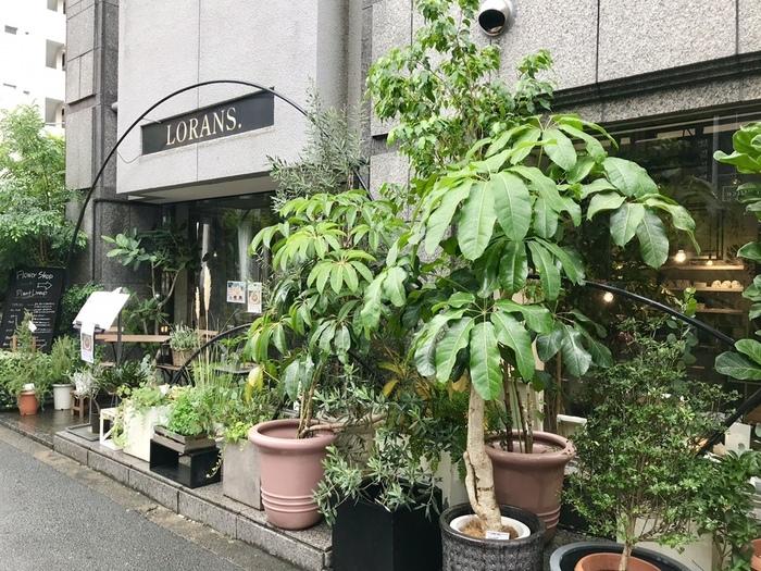 「LORANS. social flower & smoothie shop」は、北参道駅から徒歩5分の場所にあります。エントランス前ではたくさんの植物がお出迎え。スムージーショップは、こちらのお花屋さんの中にあるんですよ。