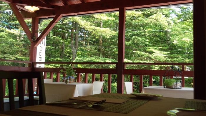 軽井沢の自然の中で、ゆったりと楽しめるきのこフレンチ。秋に訪れると天然のキノコのコースが食べられる、キノコ好きならわざわざ足を運んでみたくなるレストランです。
