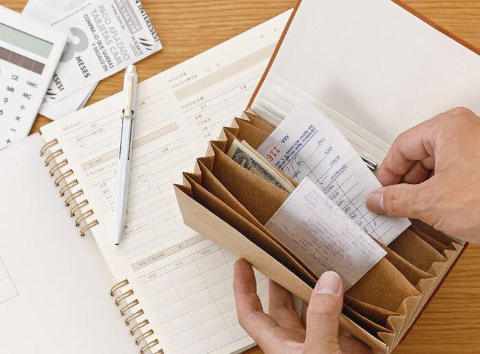いちいち袋に分けるのが面倒!という方におすすめの、じゃばらファイル。7つのポケット付きなので、項目別にお金やレシートを入れられます。