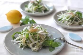 食欲のない真夏にうれしい香菜のサラダ。 きゅうりやみょうが、パクチーをナンプラーとレモン汁で和えたら、爽やかで本格的なアジアンサラダに。 しっかり冷やしていただきたいですね。