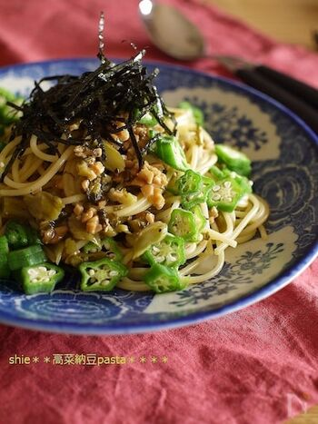 納豆×オクラはネバネバ食材の黄金組み合わせ!そこに加えた高菜が味のポイントになっている、絶品パスタ*スタミナを付けたい時に、サッと簡単に作れます!