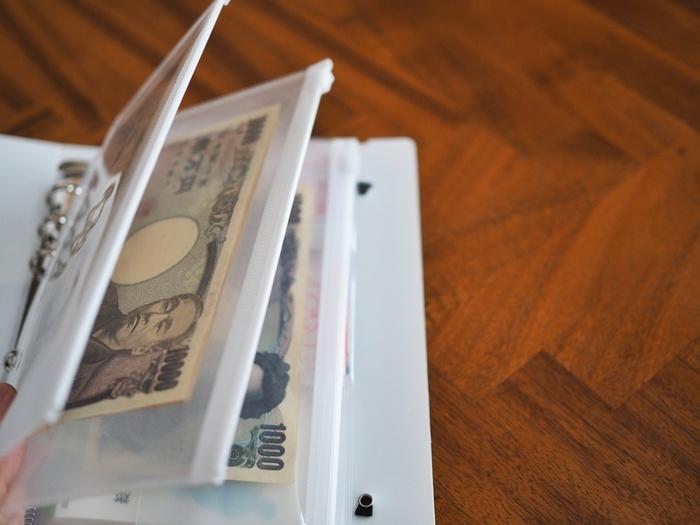 リフィルにはジッパーが付いているので、お金が落ちてしまうということはありません。ファイルから項目別のリフィルをはずしてそのまま使ってもいいですし、お財布にお金を移し替えて使用してもOK。