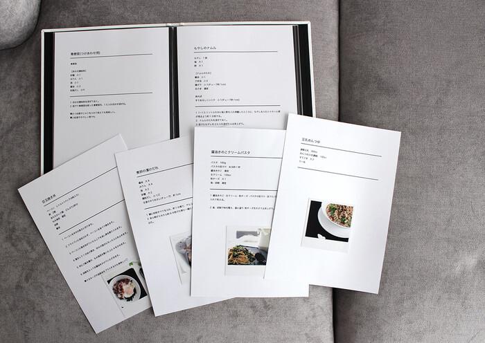 タイトル、材料、作り方の手順などをどこにどのような順番で書くか、事前に決めてしまえば続けるのが楽になります。また、レシピによってはカップやグラムなどの単位を自分が分かりやすいものに直しておきましょう。効率よく作業できるようになりますよ*