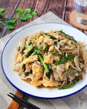 生姜、にんにく、ニラなど食欲をそそる薬味や本格的な味付けでごはんのおかわりが止まらない絶品豚ニラ炒め。もやしを入れることで食感も食べごたえもアップするので節約レシピとしても覚えておくと重宝します。