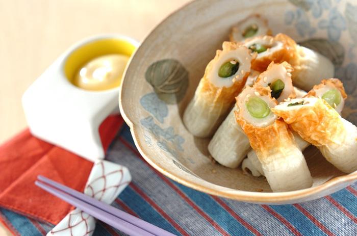 ちくわに野沢菜を詰めただけの、超シンプルレシピ。野沢菜の塩気がちくわとよくマッチし、箸休めにぴったりです。
