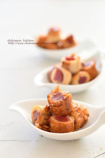 ピリ辛のビアソーセージを、ちくわの穴に入れて。ペペロンチーノ風の味付けで、旨辛味に。