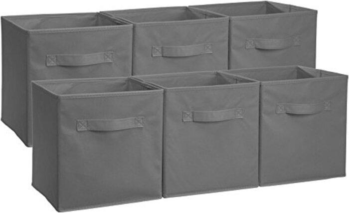 Amazonベーシック 収納ボックス 収納キューブケース 折りたたみ式 6点セット グレー