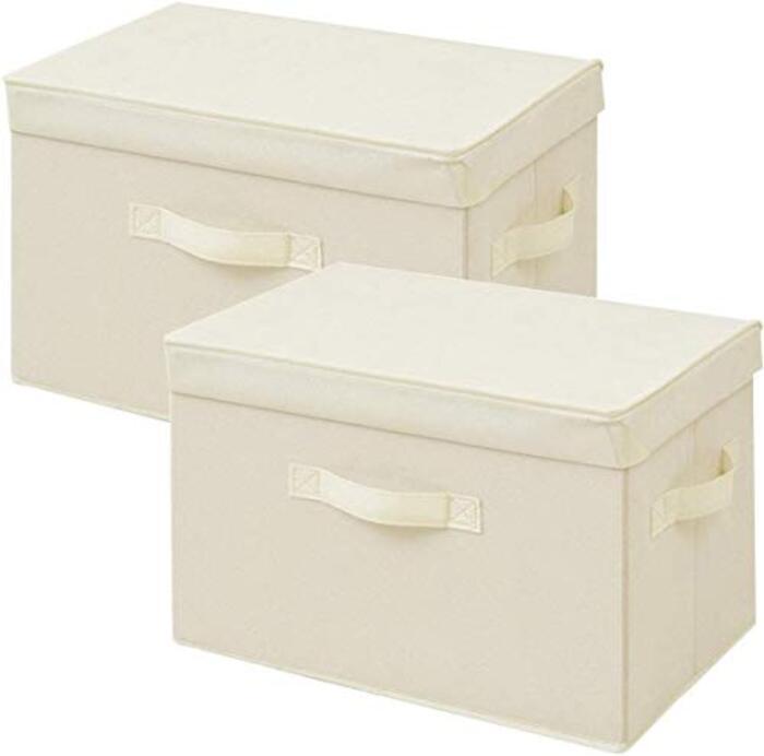 山善 ふた付き 収納ボックス カラーボックス対応 アイボリー 2個組