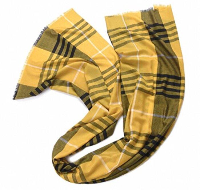 クラシック チェック柄 厚い 100% ウール 大判 レディース スカーフ マフラー ストール 黄色