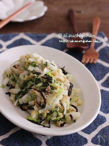 塩昆布と昆布茶で旨味たっぷりに仕上がる白菜サラダ。ツナも加えているので食べ応えもばっちりで栄養も摂れますね。白菜は繊維を切るように千切りにするのがおいしい食感に仕上げるコツ。
