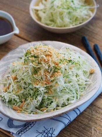 にんにくの効いたオリジナルドレッシングでキャベツをたくさん食べられるサラダレシピ。砕いたバターピーナッツが食感のアクセントになっています。玉ねぎや大葉も加えているので野菜もしっかり摂れますよ。