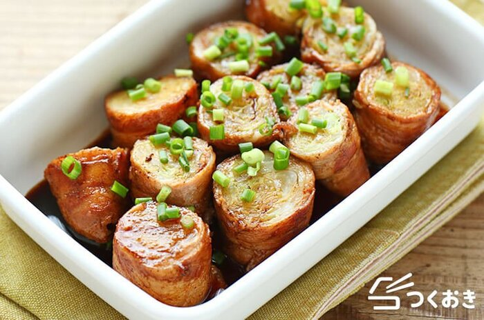 ざくっとした食感が楽しい、キャベツの豚肉巻き。お弁当のおかずにもぴったりなので、たくさん作ってつくりおきしても◎