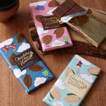 保存料や着色料を使わない体に優しいオーガニックなお菓子。こちらはチョコ本来の味が楽しめる本場ベルギーからやってきたフェアトレードチョコで、美味しさはもちろんかわいいイラストが気分を高めます。優しいくちどけのチョコでコーヒーブレイクしてみませんか?