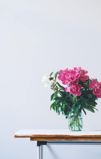 これまで花を飾る習慣がなかった方にとっては、自宅に花瓶がない・・・なんてこともありますよね。100円ショップなどでも手に入れることができますが、もっと身近に、空き瓶や空き缶を活用してみるのもおしゃれ。ただ飾るだけでも十分華やかな雰囲気に魅せることができますよ。