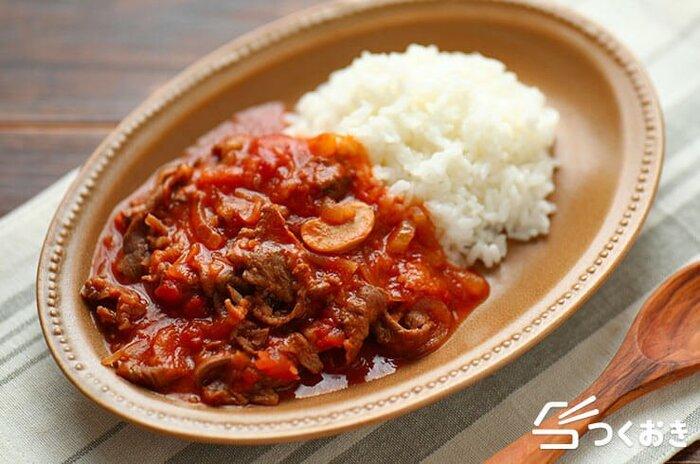 子供から大人まで大好きなハヤシライス。ハヤシライスのルーを使わなくても、ケチャップやトマト缶など、実は身近な材料で簡単に手作りできちゃいます。旨味たっぷりで甘味のあるソースは手作りならではの味わい。(冷蔵保存5日)