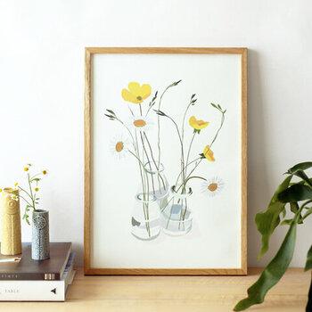 お花とのコラボも華やかで楽しいですね。季節に合ったお花のアートと飾れば、毎シーズンディスプレイを楽しめます。