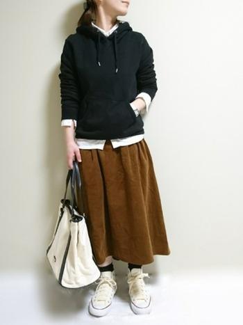 パーカーとのレイヤードスタイル。襟元、袖口、裾から白シャツをチラ見せさせて、着こなしのアクセントに。