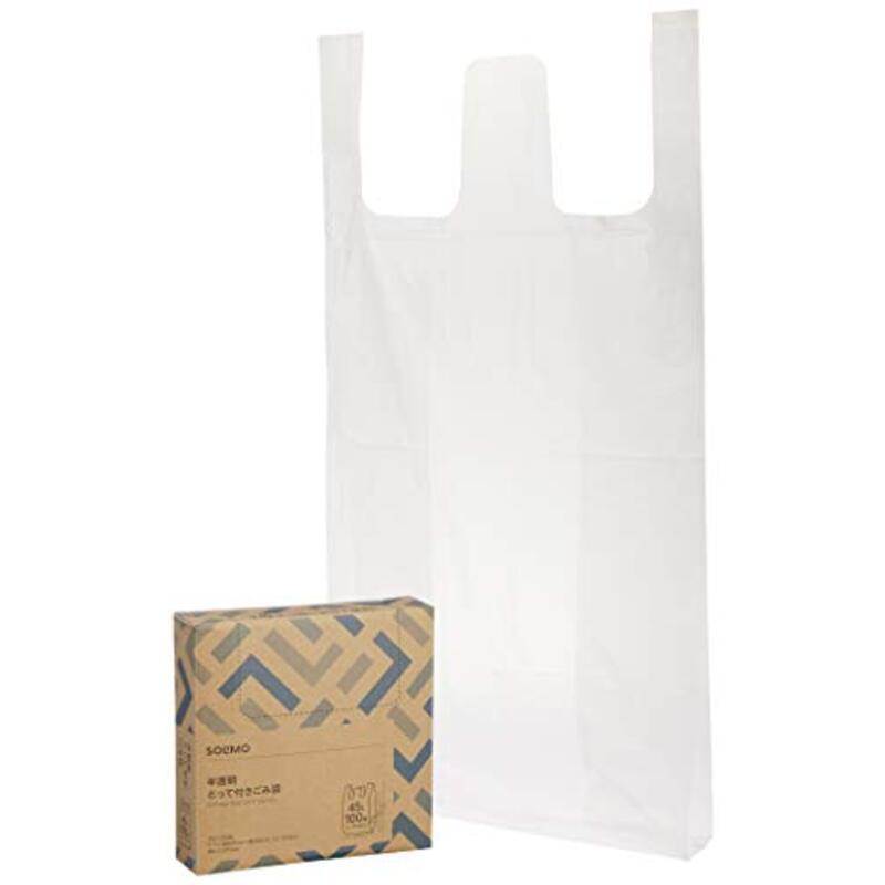 [Amazonブランド] SOLIMO(ソリモ)  半透明とって付きごみ袋 45L 100枚
