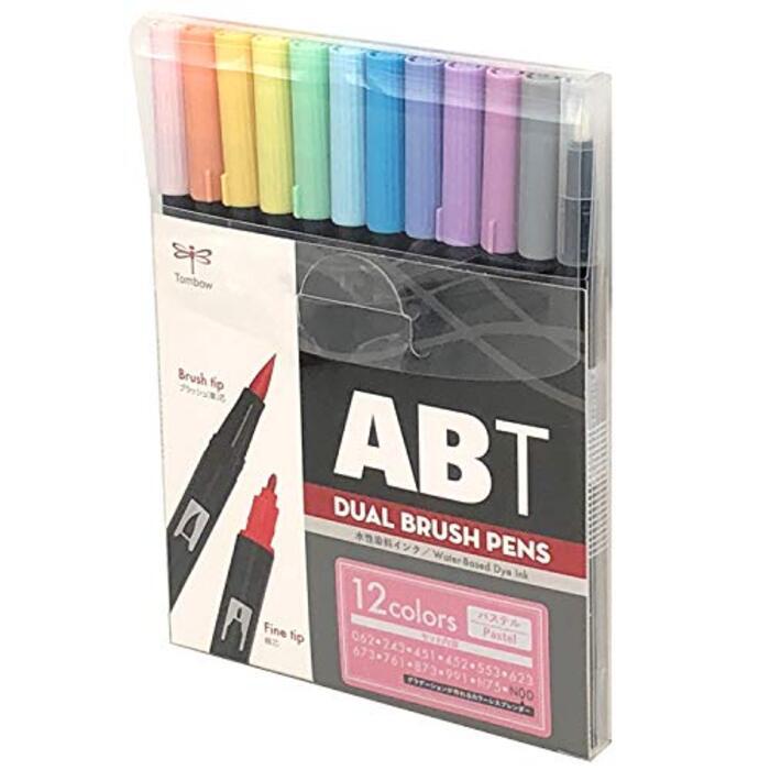 トンボ鉛筆 筆ペン デュアルブラッシュペン ABT 12色セット パステル AB-T12CPA