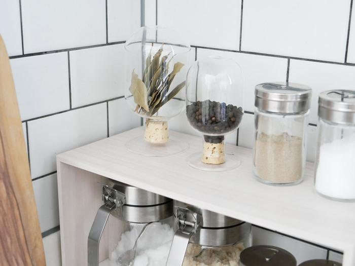 スパイスやハーブ、コーヒー豆の保管は意外と悩むもの。このシードボトルで一式揃えてしまえばキッチンがとってもすっきり!もちろん拾ってきたシーグラスや植物を入れて飾っても素敵ですよね。ガラスが光を集めてくれるので、お部屋が明るくなりそう。