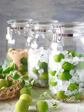 もうひとつは、密閉瓶に、お好みの果物と氷砂糖(グラニュー糖やハチミツ)を交互に重ねていき、数日置いておく方法。この方法のポイントは、出来上がるまでは、一日一回全体をしっかりと混ぜる事。後者の作り方の方が、大き目の瓶にたっぷりと作れるかもしれませんね!是非、お好みのやり方で作ってみて下さいね!