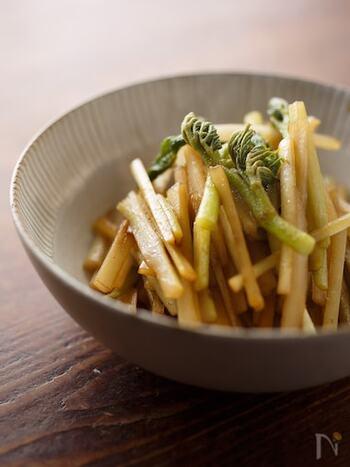 山菜のうどの炒め物は、その独特の風味を余すところなく味わうために、皮や穂先もすべて使いましょう。このレシピでは、そばつゆに使われる「かえし」を調味料に使っていますが、なければ醤油とみりんでもOKです。