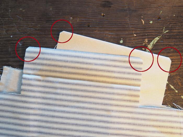 写真赤丸部分の角を5mm程度ななめにカットします。