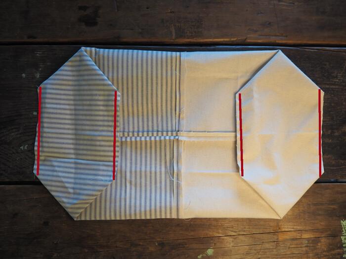 平らに置くとこのようになります。表地裏地それぞれのマチ部分の縫い代1cmのライン(赤線)を縫います。
