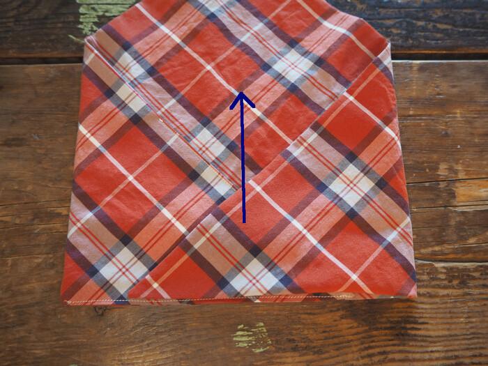 使うときは右下の角もこのように折りたたんでくるくる巻いて紐でしばります。
