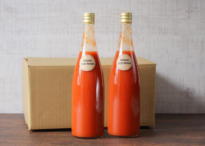 藤沢で100年続く農家さんが作った、こだわりたっぷりのフルーツトマトのジュースです。トマトはアイメック農法という特別な方法で栽培され、甘さをグッと高められています。トロトロとした口当たりで、トマトの果実感を感じられるジュースです。