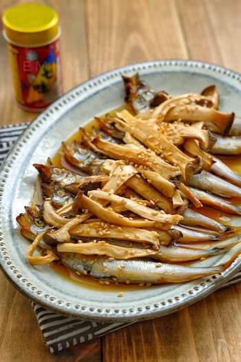 焼いたししゃもとエリンギを、めんつゆでつくるタレに漬けるだけのお手軽レシピ。お好みでごまをパラリと。何か一品欲しい、という時にもぴったりなメニューです。