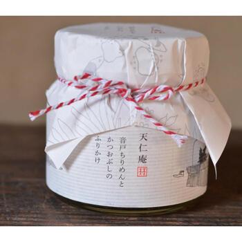 広島県呉市の、ちりめんで有名な音戸の豊かな海で採れたちりめんで作られた毎日食べても飽きない「天仁庵」の「音戸ちりめんとかつおぶしのふりかけ」。