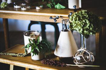 複数のアイテムを組み合わせてお花や植物を飾ると楽しい。シンプルにお花を挿すだけで、空間がスタイリッシュに生まれ変わります。