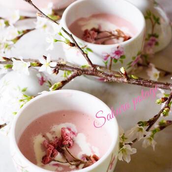 ビーツの水煮缶を使ってピンク色に仕上げたポタージュ。牛乳の代わりに生クリームを使うと、よりクリーミーで濃厚な口当たりに。桜の塩漬けを上にトッピングして、器に花を咲かせましょう♪
